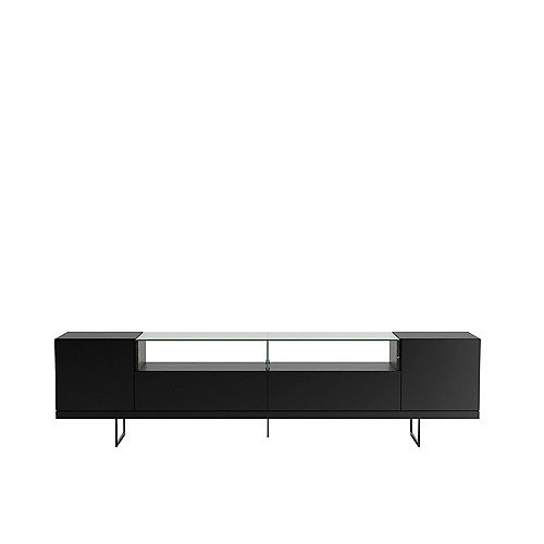 Celine 85.43 TV Stand in Black and Black Marble