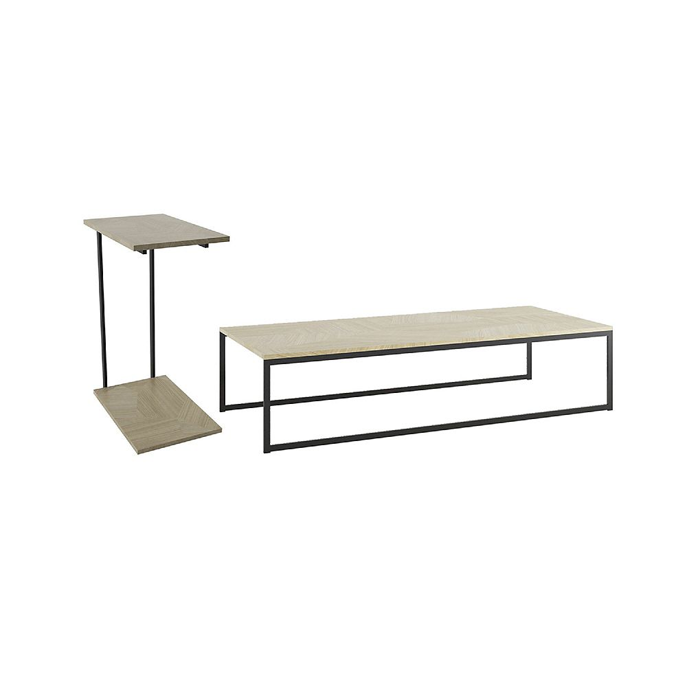 Manhattan Comfort 2-Piece Celine Coffee and Table in Nude Mosaic Wood