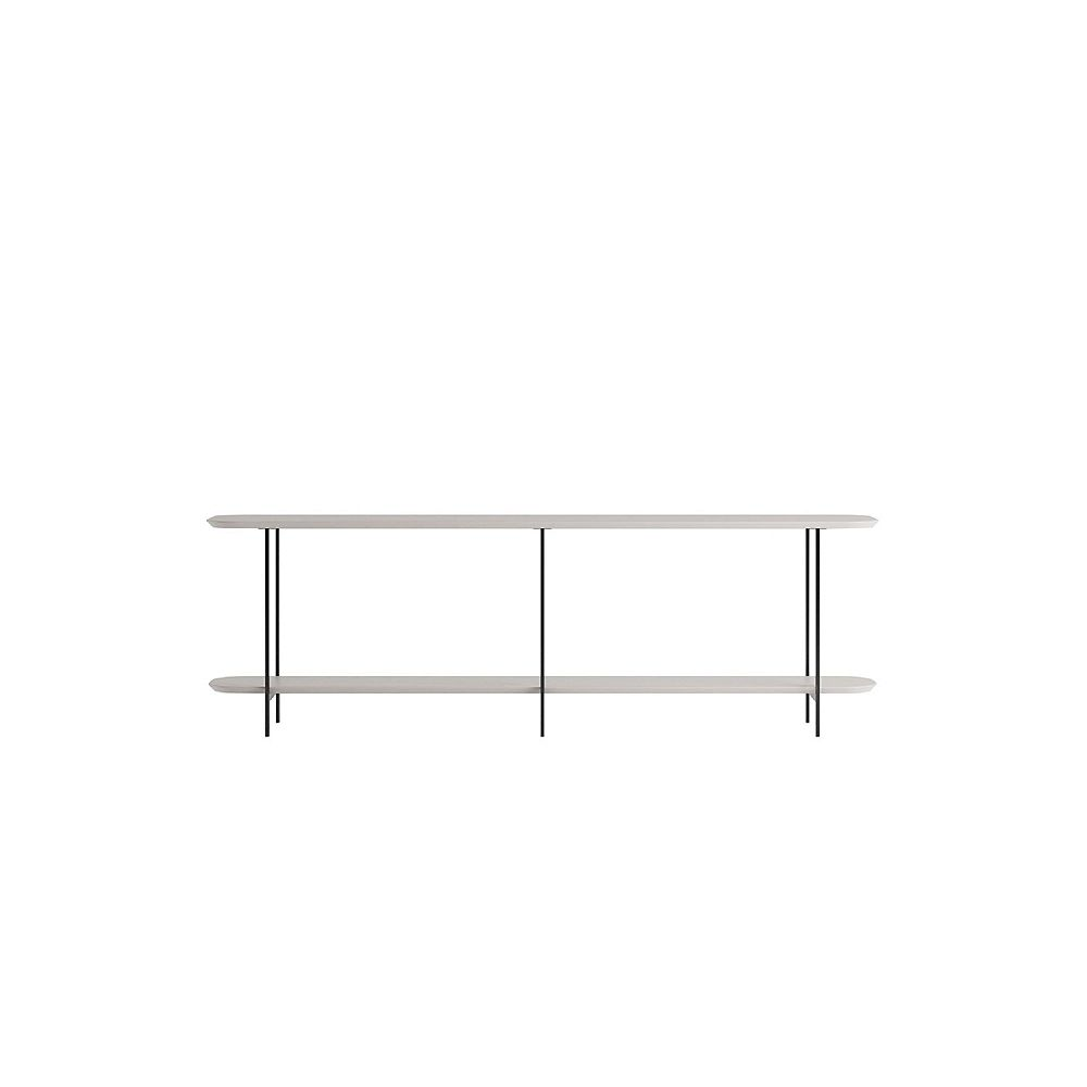 Manhattan Comfort Celine Side Table Console in Off White