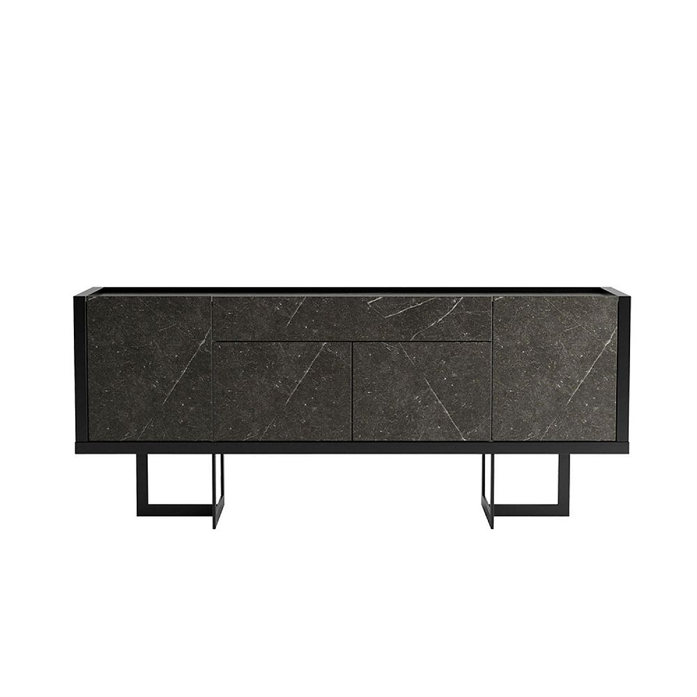 Manhattan Comfort Celine 70.86 Buffet Stand in Black and Black Marble