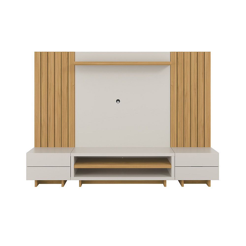 Manhattan Comfort Cornwall 98.41 Entertainment Center in Off White and Cinnamon