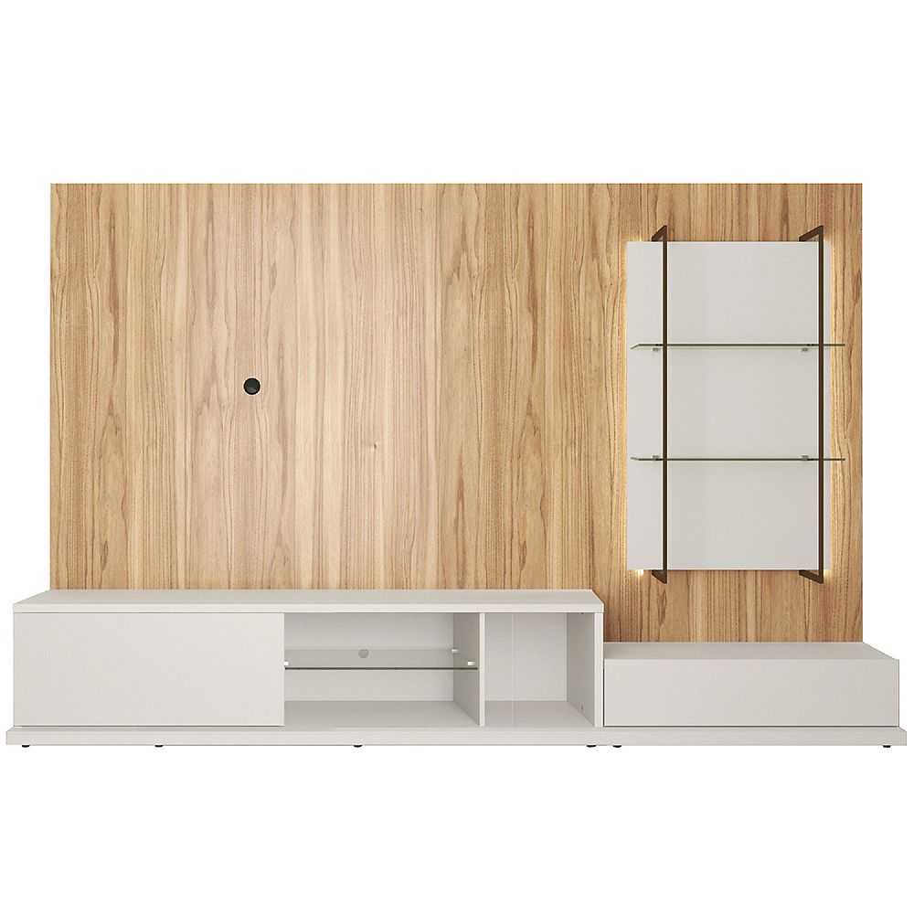 Manhattan Comfort Beaumont 106.29 Left Modular Entertainment Center in Off White and Cinnamon