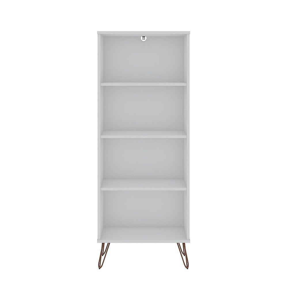Manhattan Comfort Rockefeller Bookcase 1.0 in White