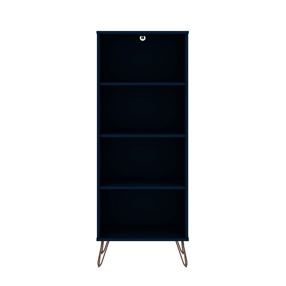 Manhattan Comfort Rockefeller Bookcase 1.0 in Tatiana Midnight Blue