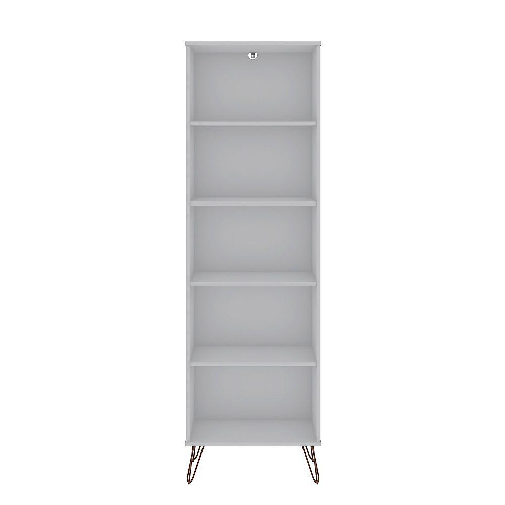 Manhattan Comfort Rockefeller Bookcase 2.0 in White