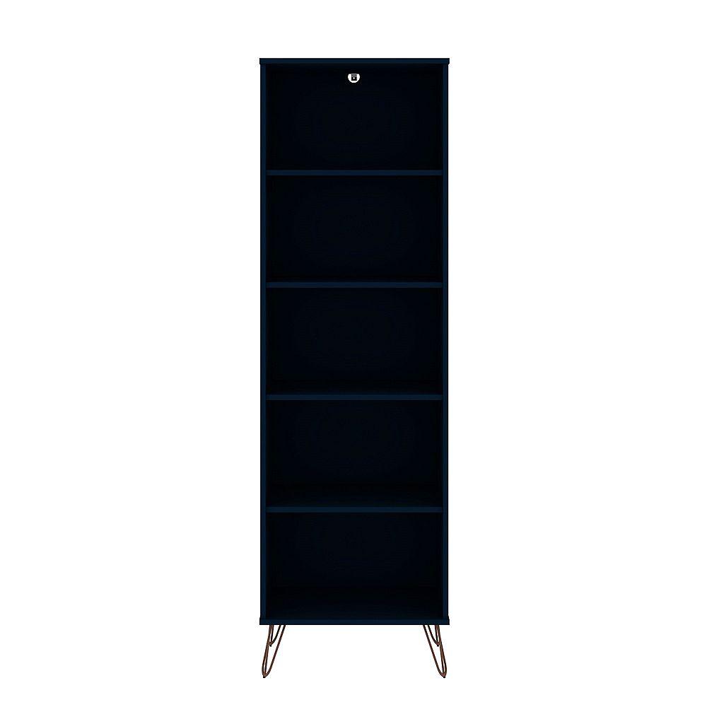 Manhattan Comfort Rockefeller Bookcase 2.0 in Tatiana Midnight Blue
