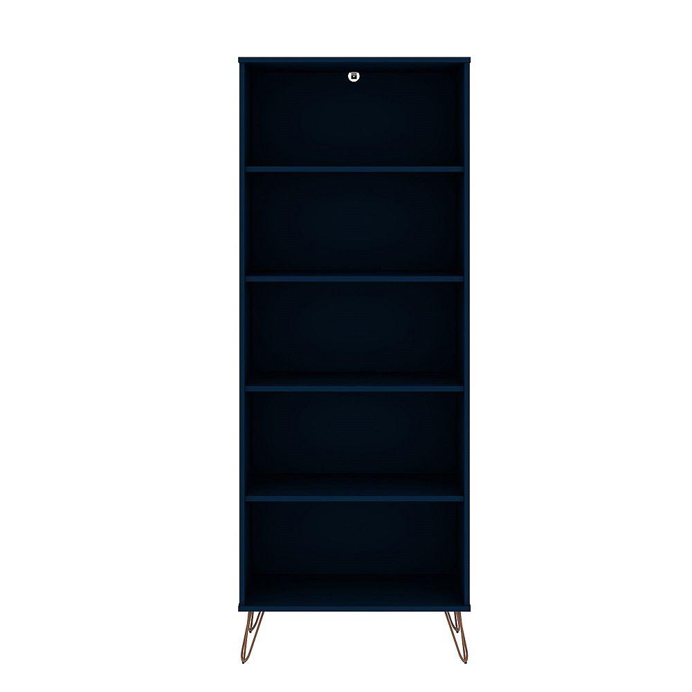 Manhattan Comfort Rockefeller Bookcase 3.0 in Tatiana Midnight Blue