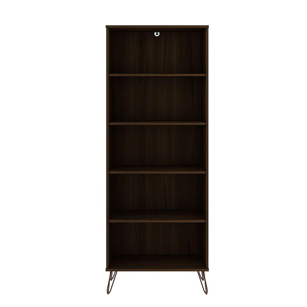 Manhattan Comfort Rockefeller Bookcase 3.0 in Brown