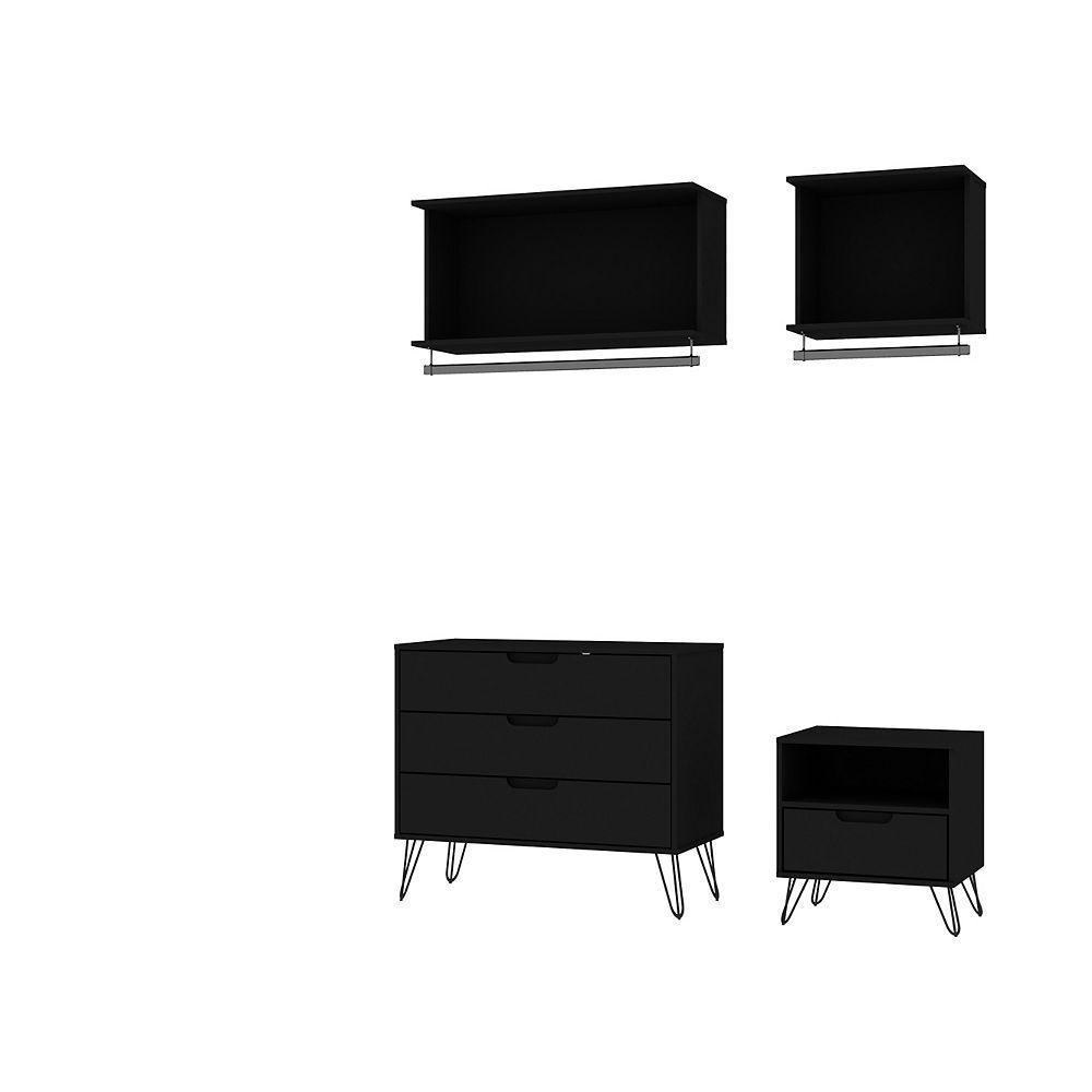 Manhattan Comfort Rockefeller 4-Piece Full Open Closet Wardrobe in Black