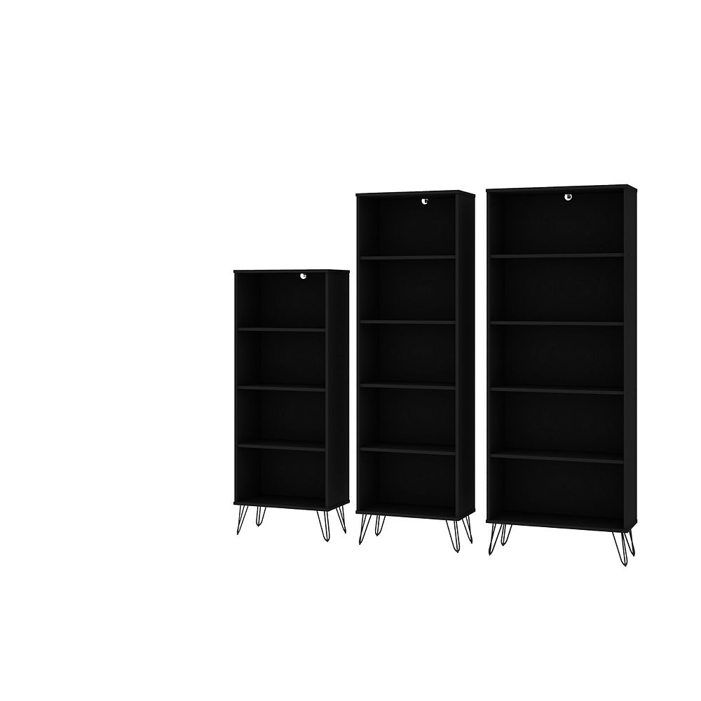 Manhattan Comfort Rockefeller 3-Piece Bookcases in Black