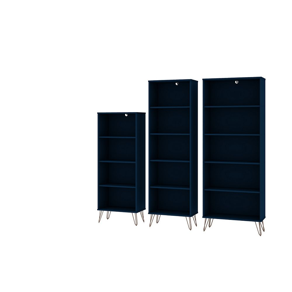 Manhattan Comfort Rockefeller 3-Piece Bookcases in Tatiana Midnight Blue