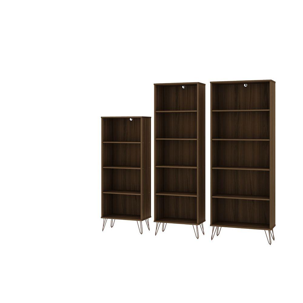 Manhattan Comfort Rockefeller 3-Piece Bookcases in Brown