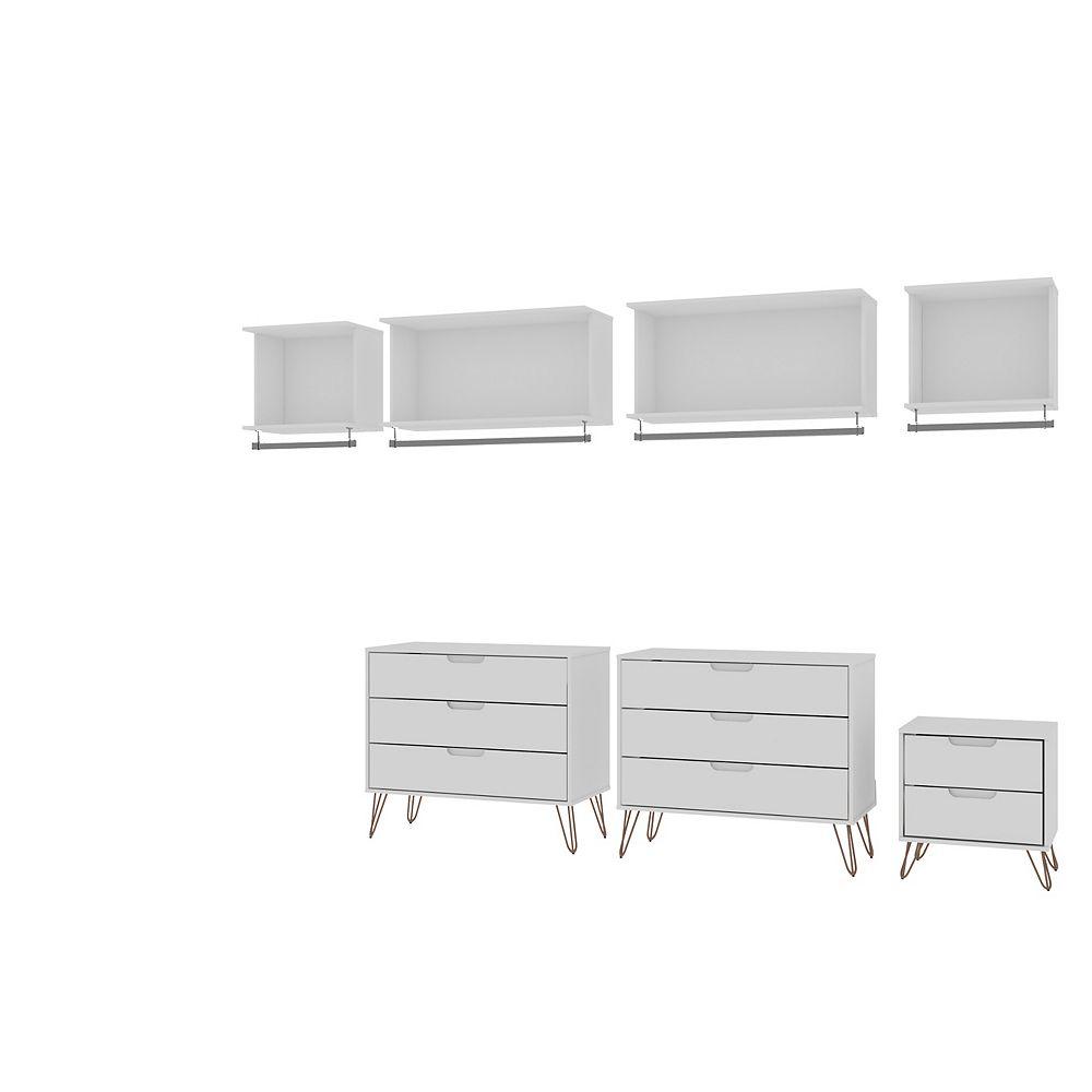 Manhattan Comfort Rockefeller 7- Piece Open Wardrobe in White