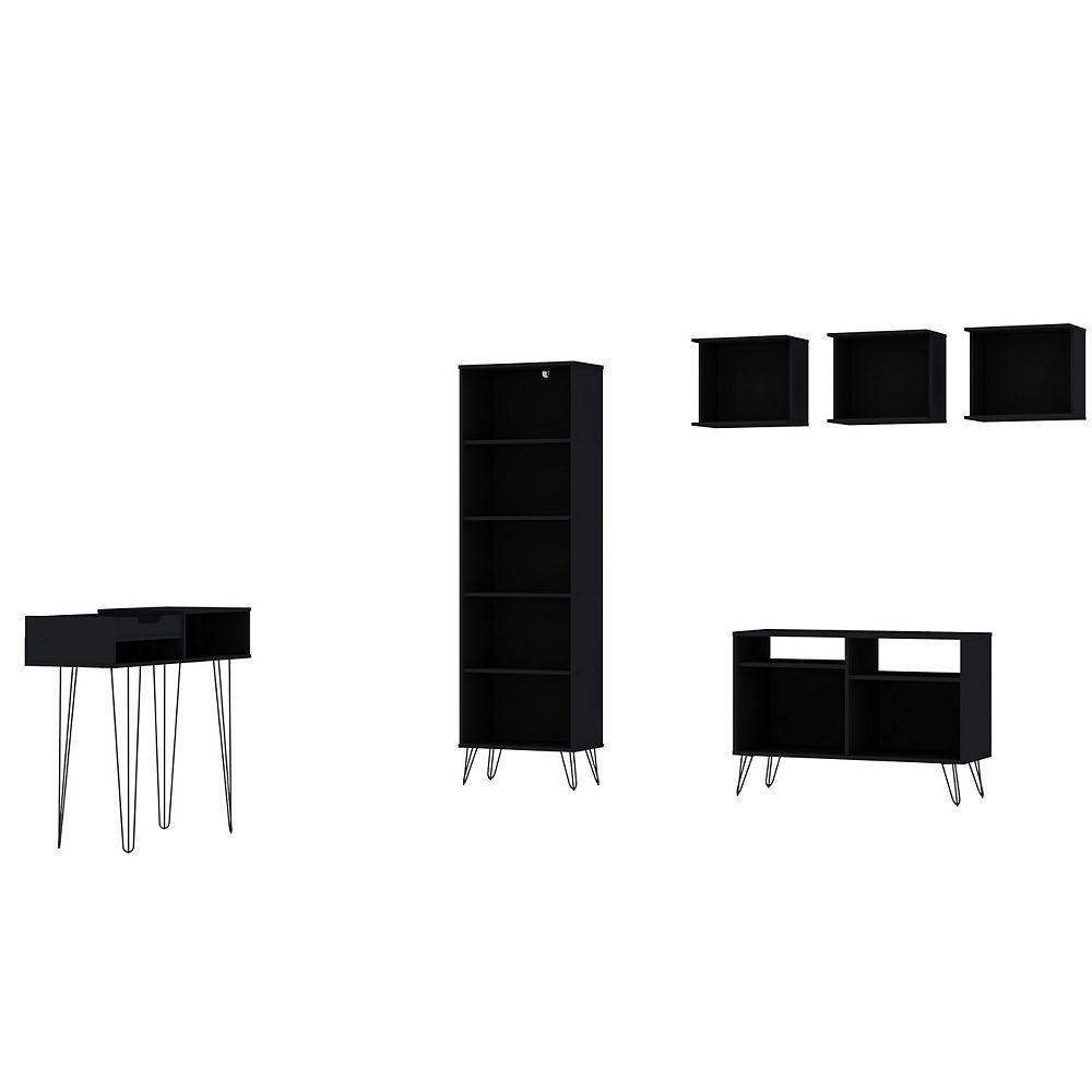 Manhattan Comfort Rockefeller 6-Piece TV Stand Living Room Set in Black