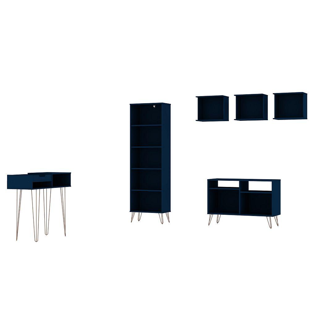Manhattan Comfort Rockefeller 6-Piece TV Stand Living Room Set in Tatiana Midnight Blue