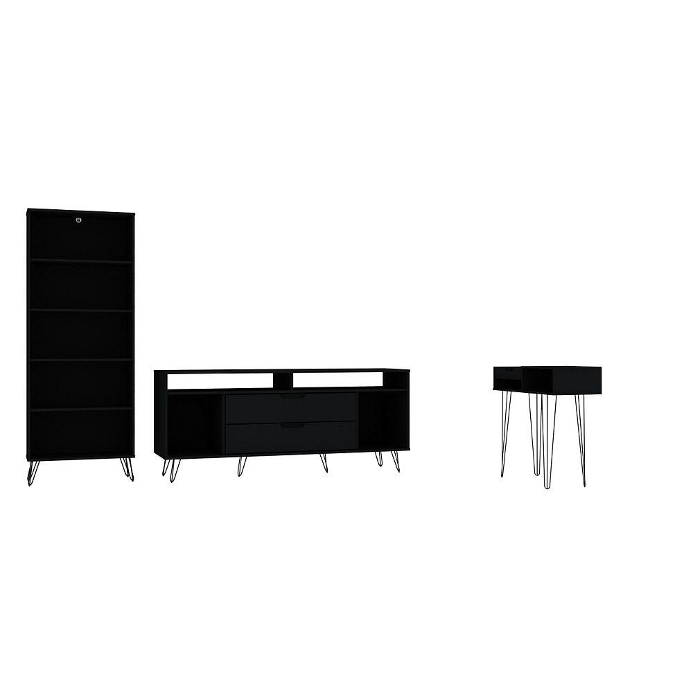 Manhattan Comfort Rockefeller 3-Piece TV Stand Living Room Set in Black