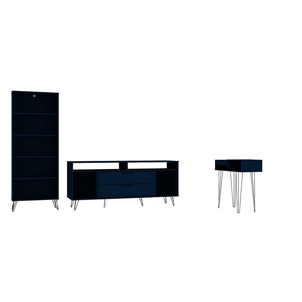 Manhattan Comfort Rockefeller 3-Piece TV Stand Living Room Set in Tatiana Midnight Blue