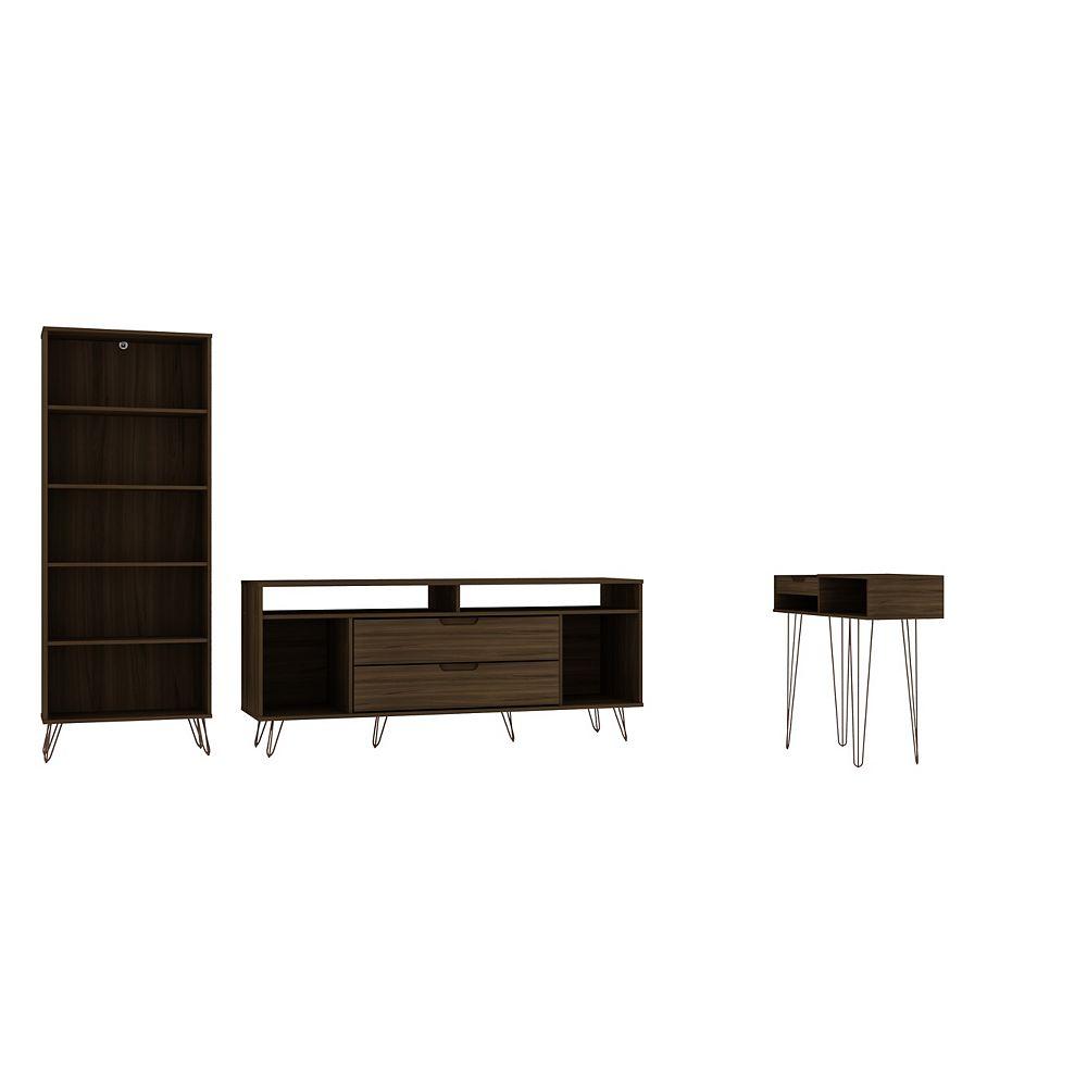 Manhattan Comfort Rockefeller 3-Piece TV Stand Living Room Set in Brown