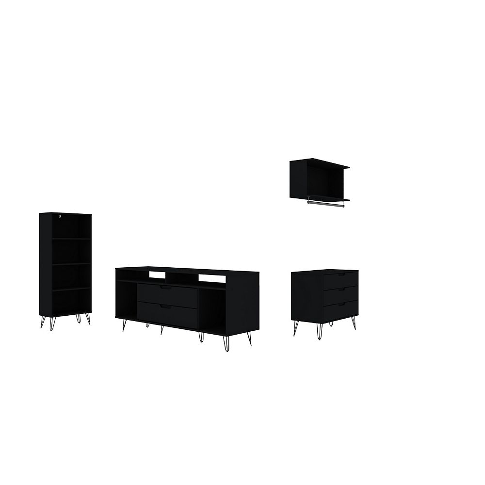 Manhattan Comfort Rockefeller 4-Piece TV Stand Living Room Set in Black