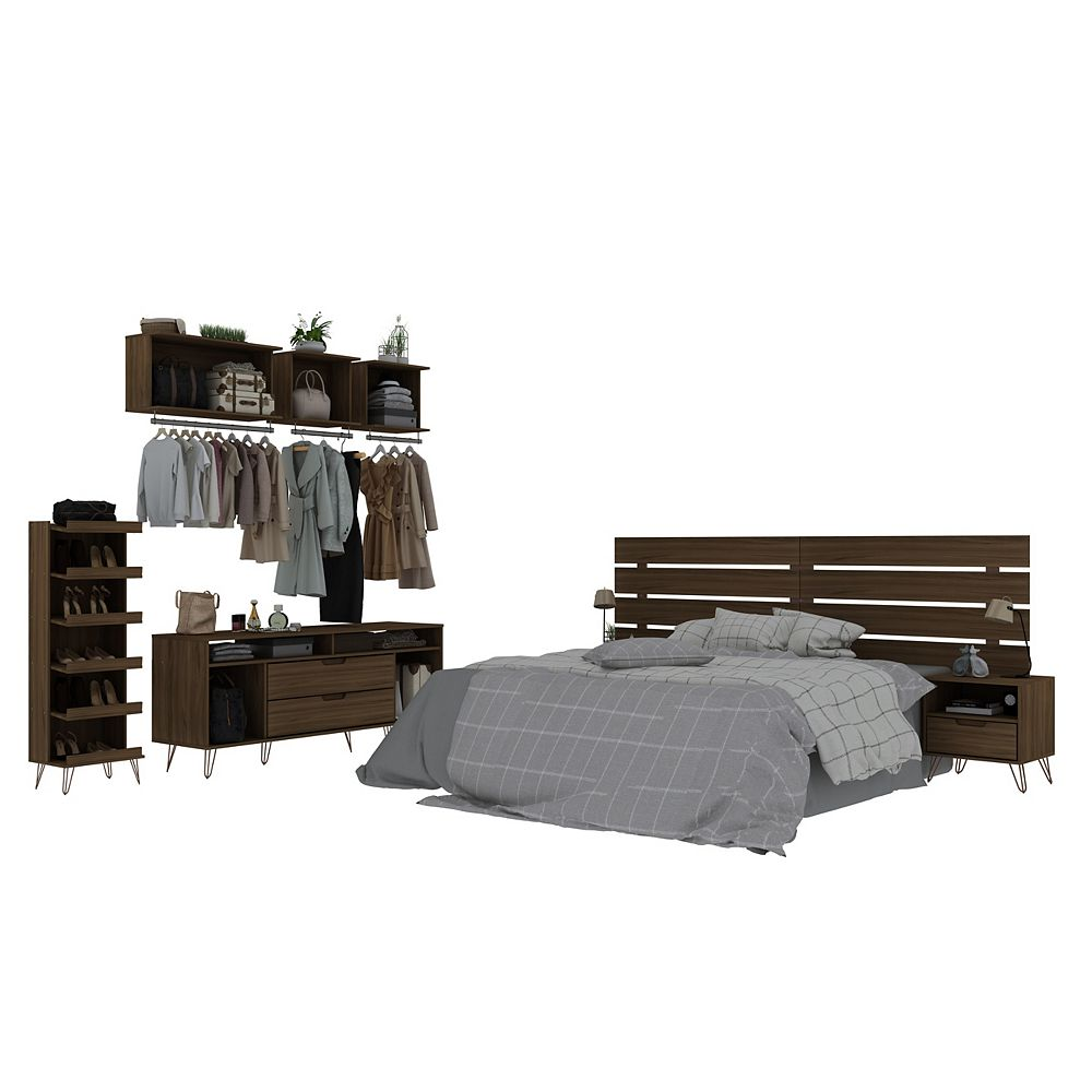 Manhattan Comfort Rockefeller 7-Piece Bedroom Set in Brown