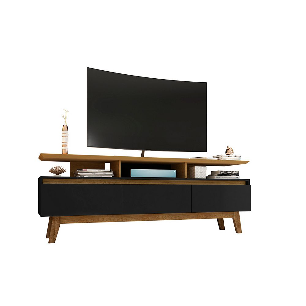 Manhattan Comfort Yonkers 70.86 TV Stand in Black and Cinnamon