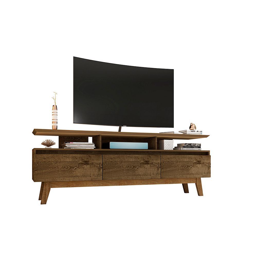 Manhattan Comfort Yonkers 70.86 TV Stand in Rustic Brown