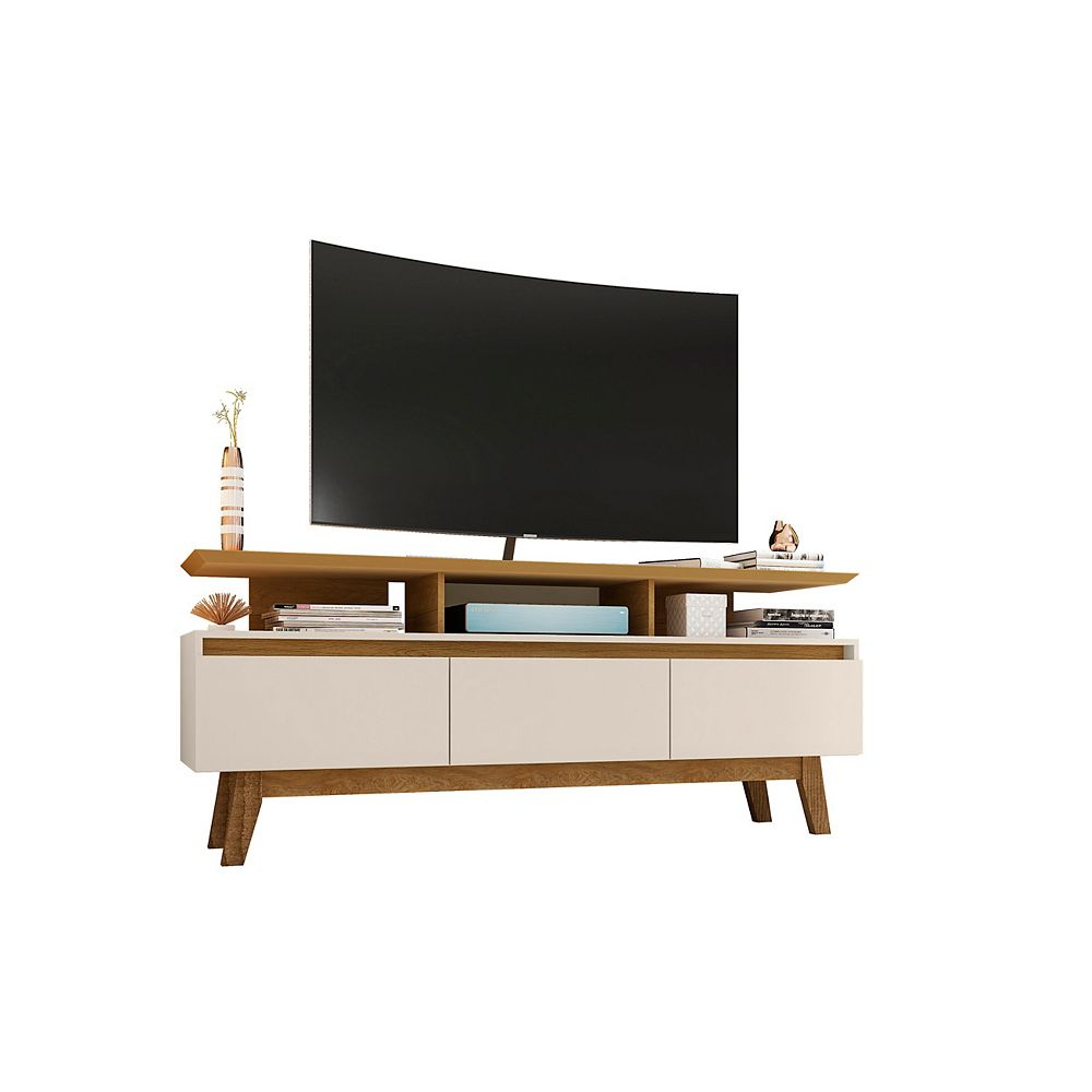Manhattan Comfort Yonkers 62.99 TV Stand in Off White and Cinnamon