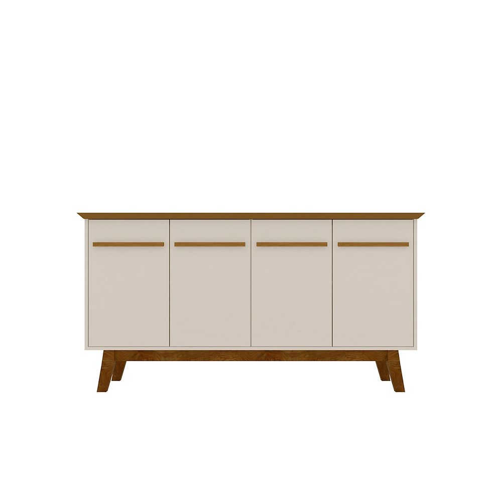 Manhattan Comfort Yonkers 62.99 Sideboard in Off White and Cinnamon