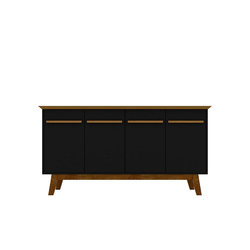 Manhattan Comfort Yonkers 62.99 Sideboard in Black and Cinnamon