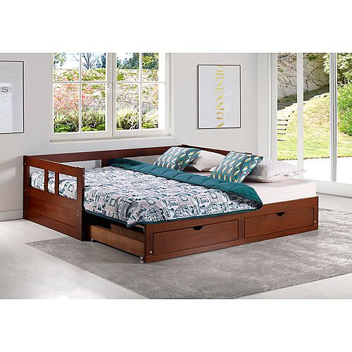 Melody Twin to King Extendable Day Bed with Storage, Chestnut