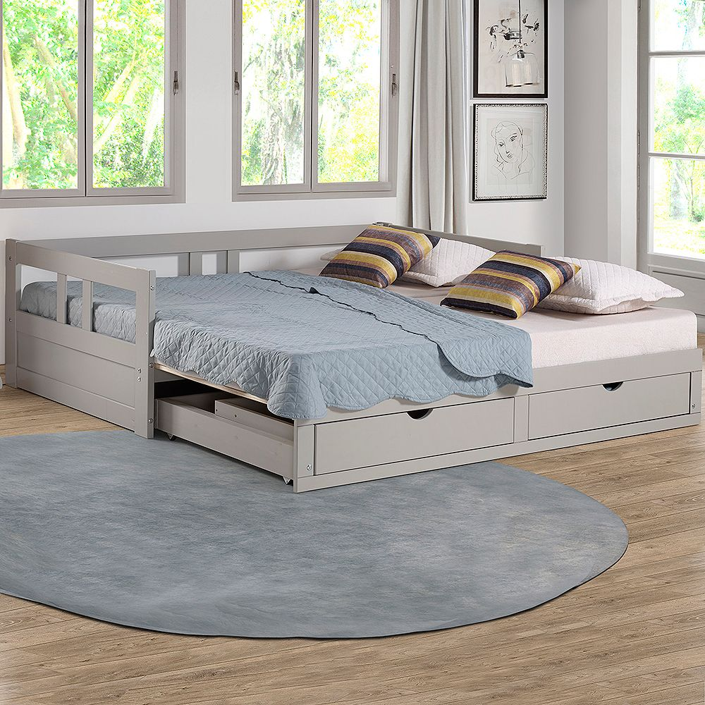 Alaterre Furniture Melody Twin to King Extendable Day Bed with Storage, Dove Gray