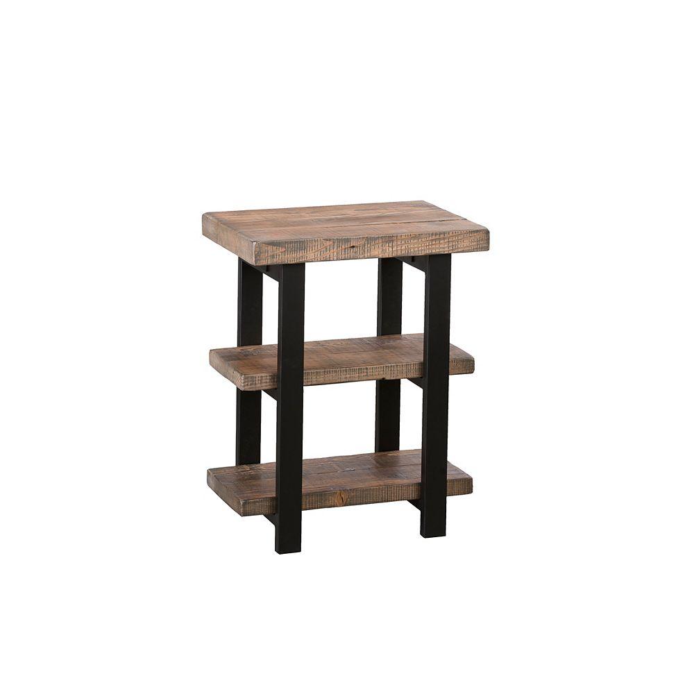 Alaterre Furniture Pomona Metal and Wood 2-Shelf End Table