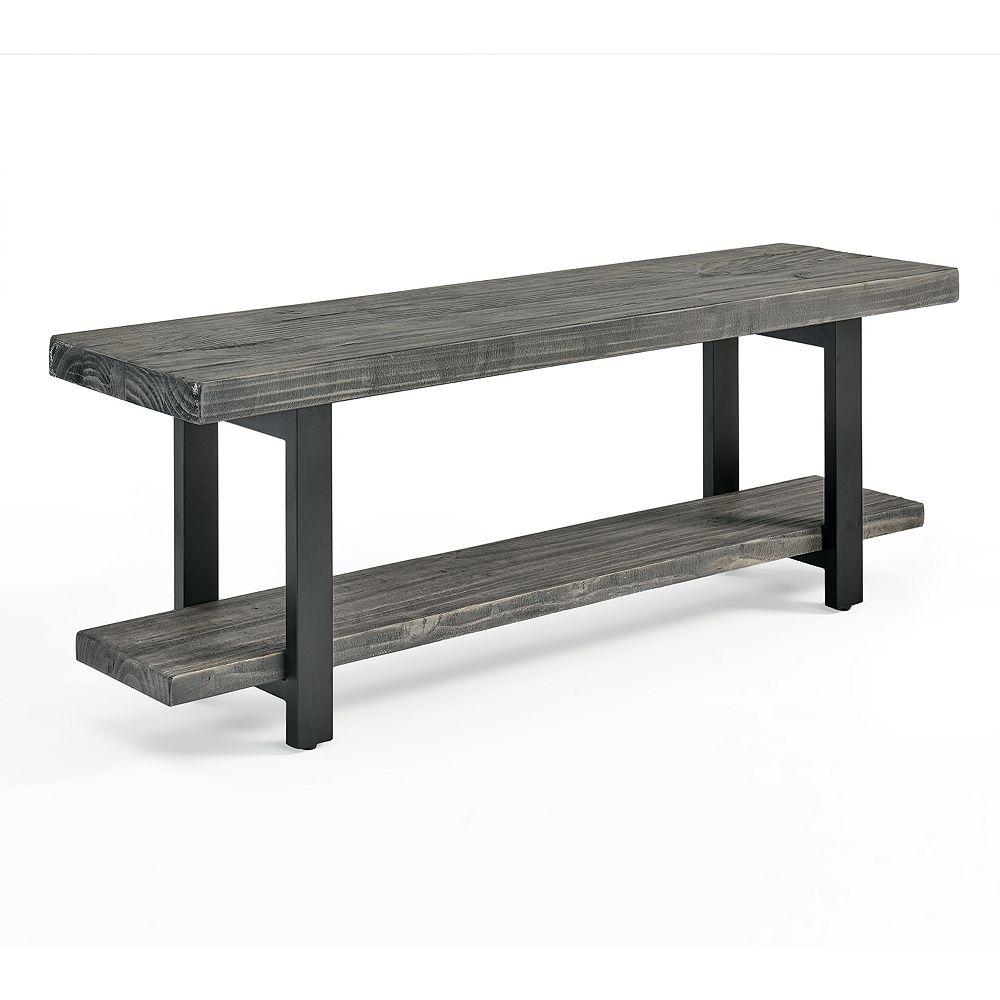 Alaterre Furniture Pomona Metal and Wood Bench, Slate Gray