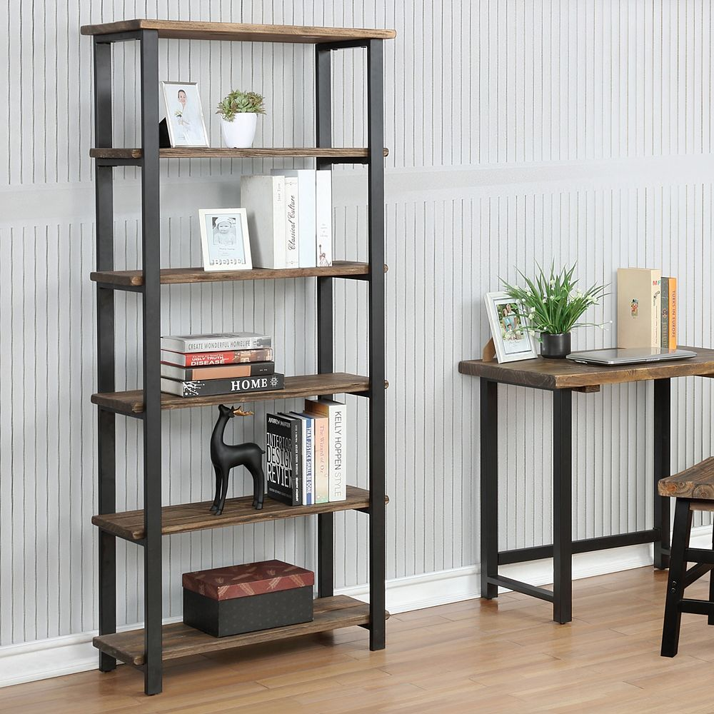 """Alaterre Furniture Pomona 70""""H 5-Shelf Metal and Solid Wood Bookcase"""
