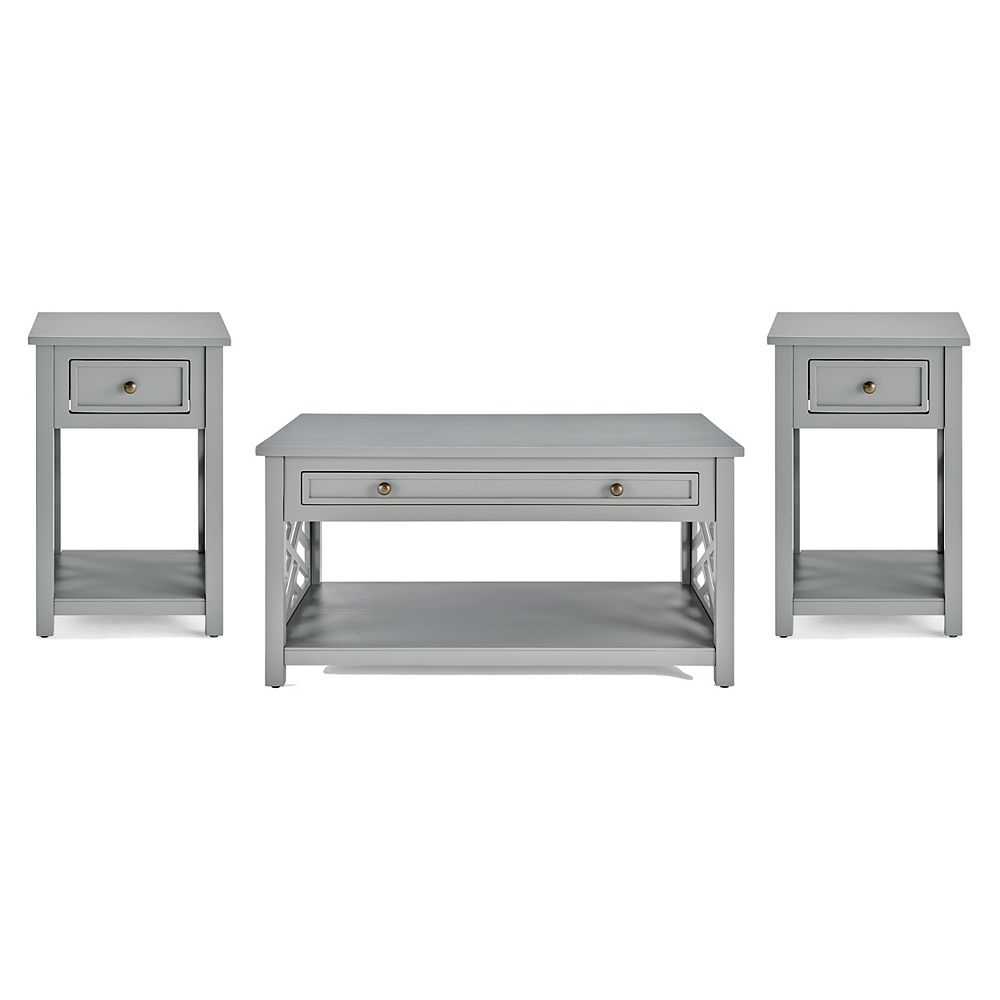 """Alaterre Furniture Coventry 36"""" Coffee Table and Two End Tables with Drawer, Set of 3"""