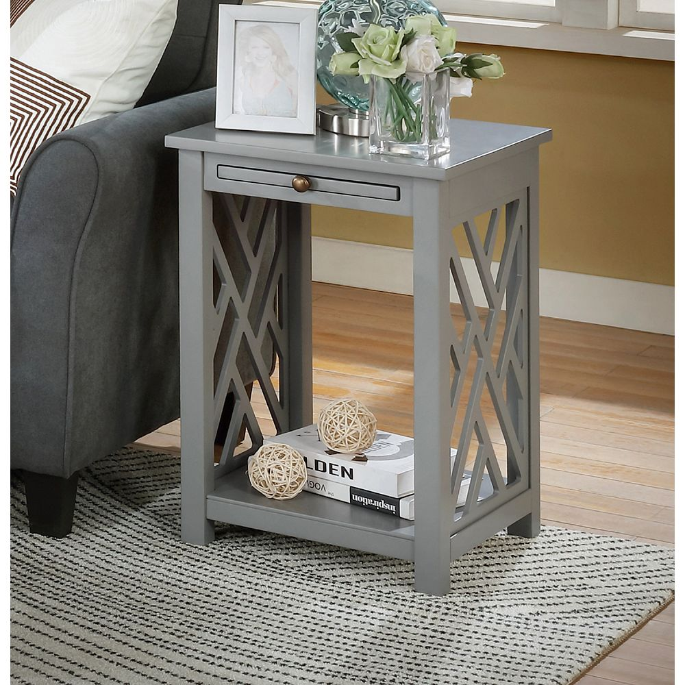 Alaterre Furniture Coventry Wood End Table with Tray Shelf and Bottom Shelf, Gray