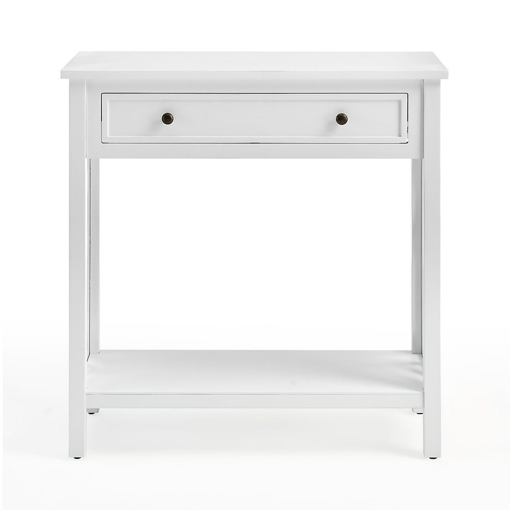 """Alaterre Furniture Coventry 32"""" Wood Console Table with Drawer and Shelf"""