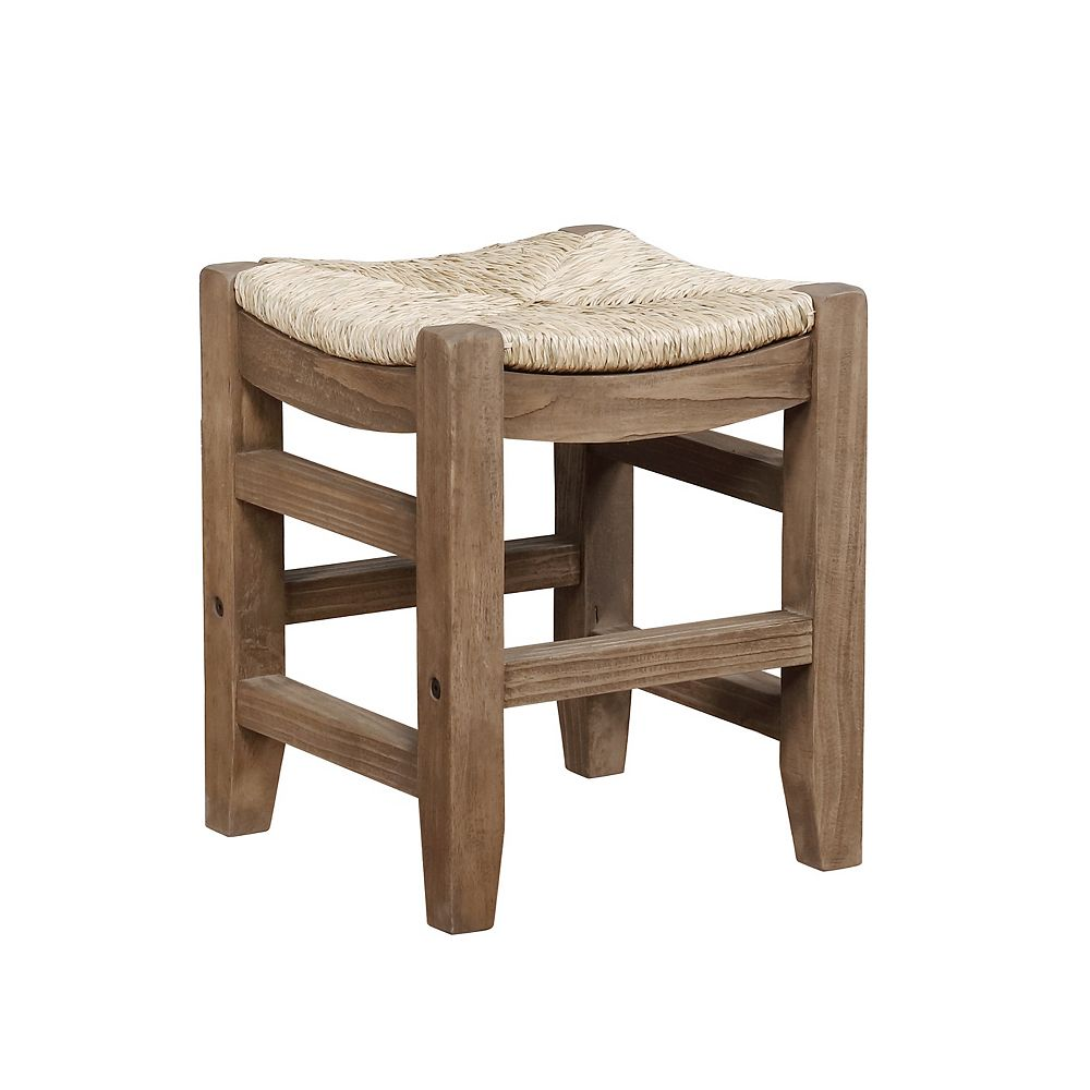 """Alaterre Furniture Newport 18""""H Wood Stool with Rush Seat"""