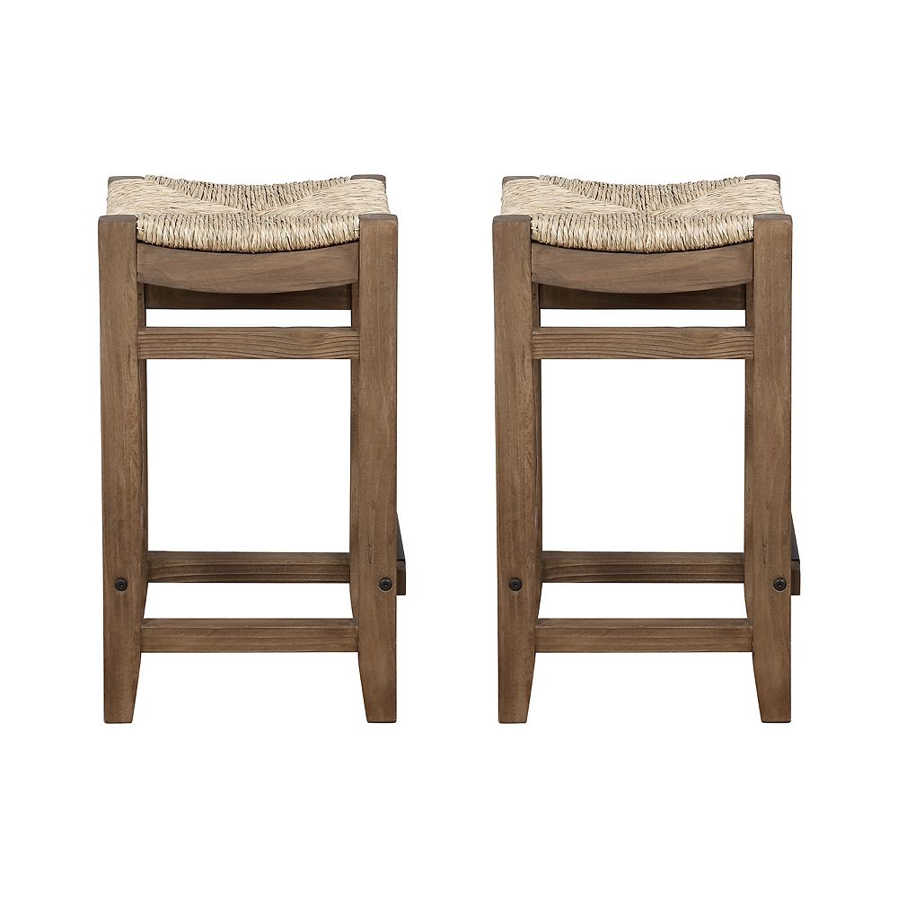 """Alaterre Furniture Newport Set of Two 26""""H Wood Counter Height Stools with Rush Seats"""