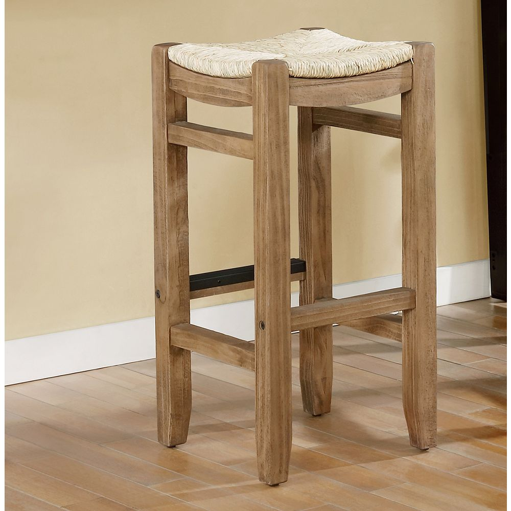 """Alaterre Furniture Newport 30""""H Wood Bar Stool with Rush Seat"""