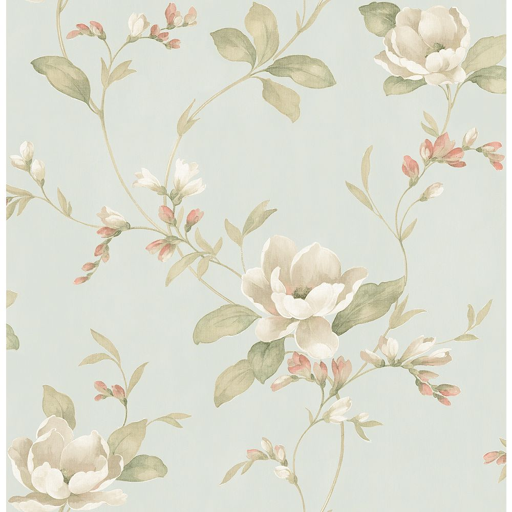 Brewster Home Fashions Caen Sage Floral Scroll Wallpaper