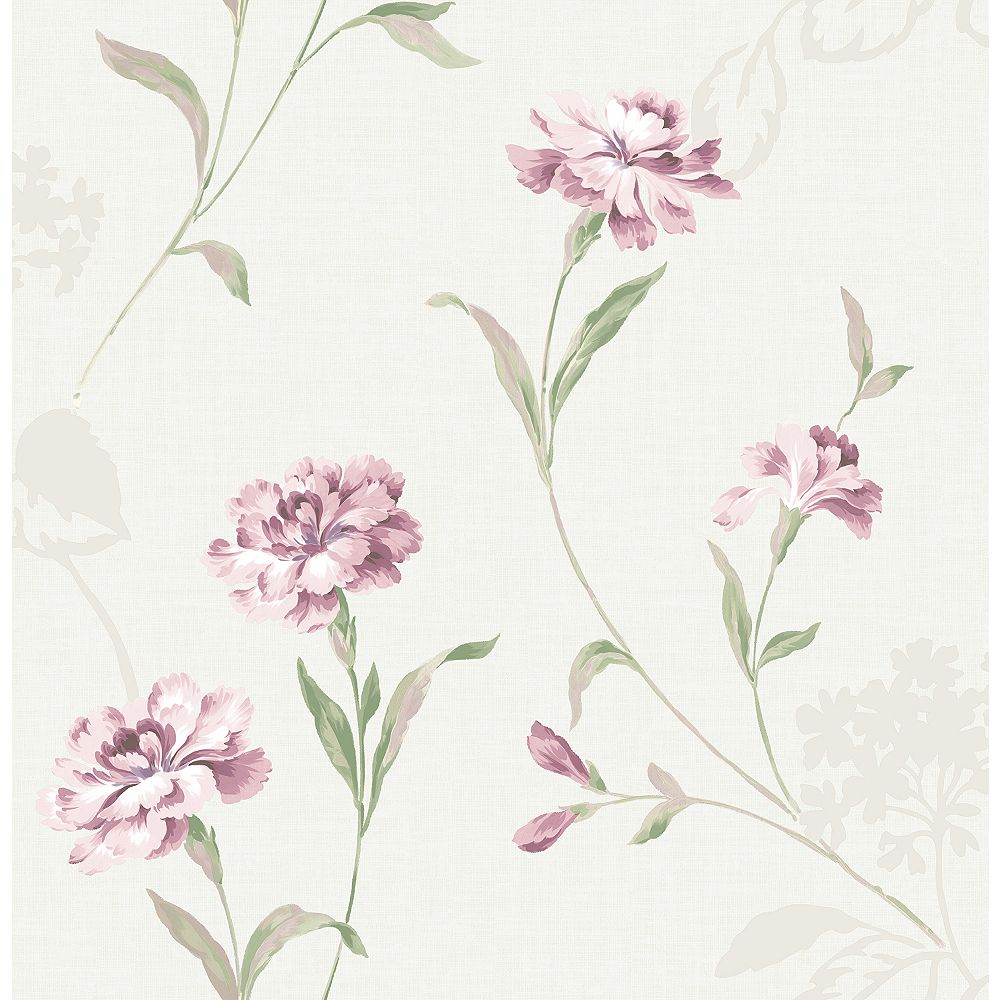 Brewster Home Fashions Caserta Pink Floral Wallpaper