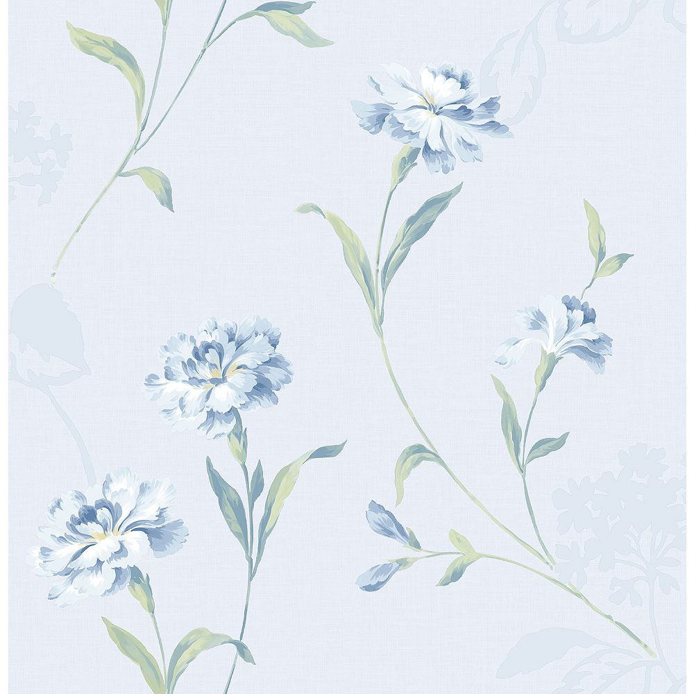 Brewster Home Fashions Caserta Blue Floral Wallpaper