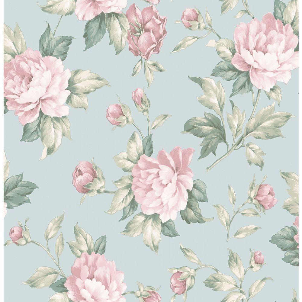 Brewster Home Fashions Catherine Light Blue Floral Wallpaper