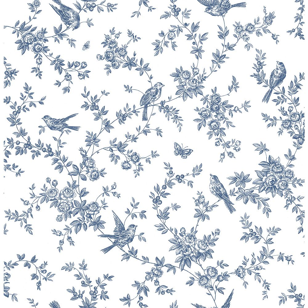 Brewster Home Fashions Mafra Blue Floral Trails Wallpaper