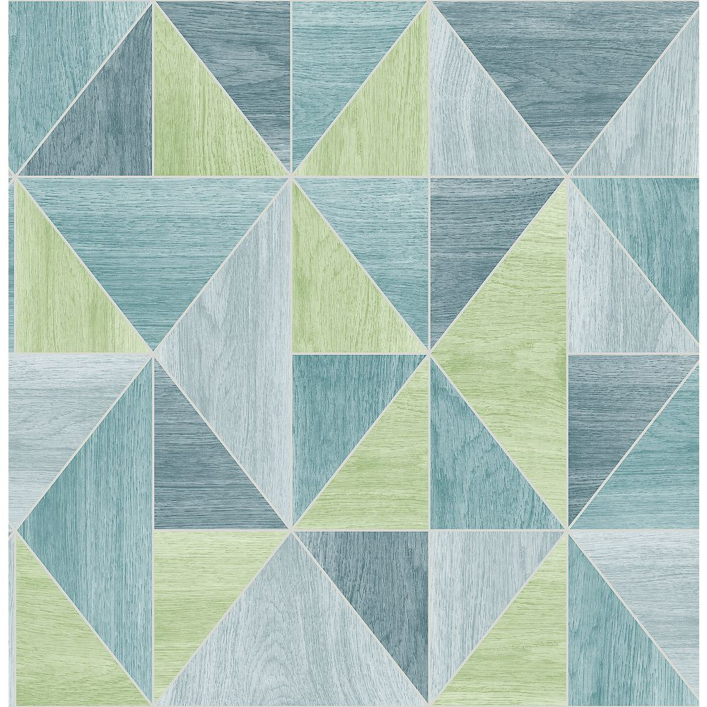 Advantage Simpson Blue Geometric Wood Wallpaper