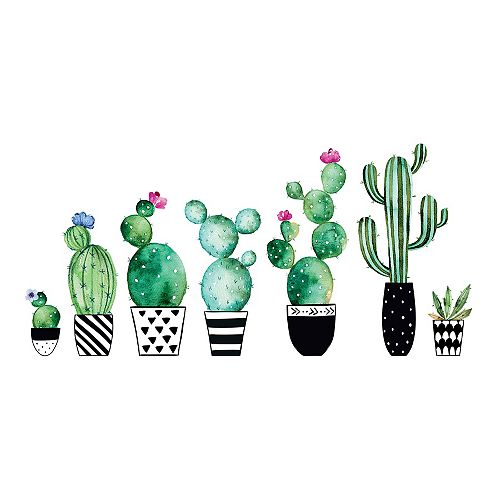 Home Decor Line Watercolor Cactus Wall Decals Set of 8