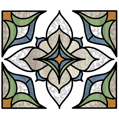 Blue Alden Stained Glass Decal Set of 2