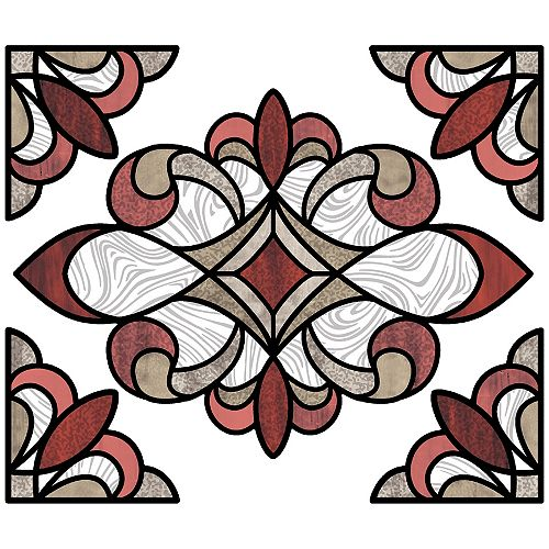 Red Westwood Stained Glass Decal Set of 2