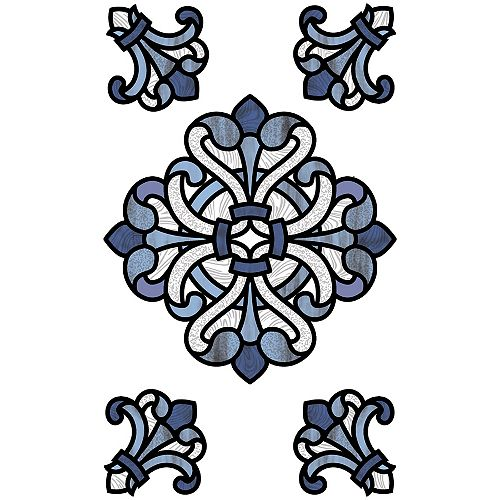 Blue Medici Stained Glass Decal Set of 2
